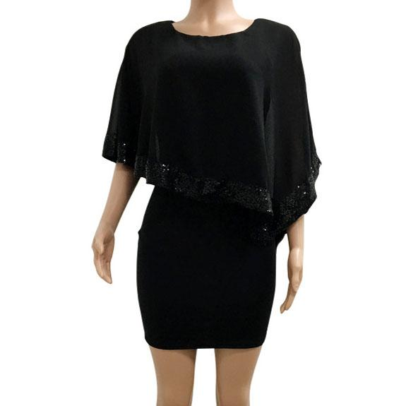 Fashion Chiffon Splicing Sequins Shawl Women's Dress For Big Sale!- Fowish.com