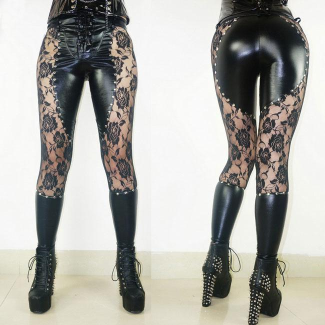 Girl's Sexy See Through Black Faux Leather Lace Rivets Punk Gothic Leggings For Big Sale!- Fowish.com
