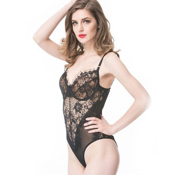 Sexy Black White Lace Lingerie See Through One Piece Women's Lingerie For Big Sale!- Fowish.com