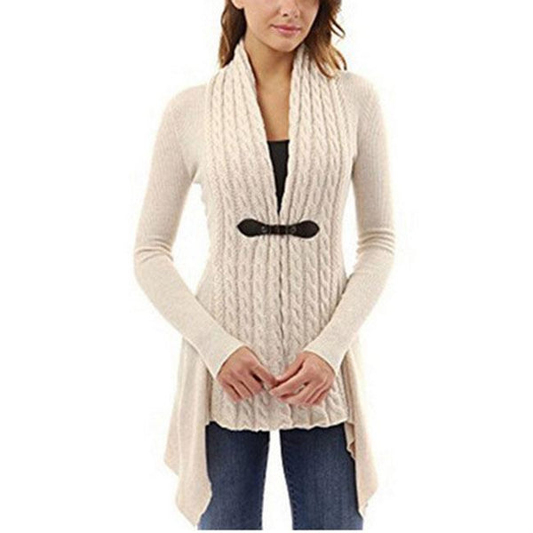 Lace-up Knitted Irregular Lower Hem Long Sleeves Cardigan For Big Sale!- Fowish.com