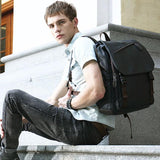 Retro Men's Gray College Black Student Bag Simple Laptop Backpack For Big Sale!- Fowish.com