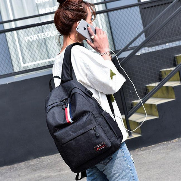 New Red White Black Stripe USB Interface Large Travel Bag Student Bag Canvas Backpack For Big Sale!- Fowish.com