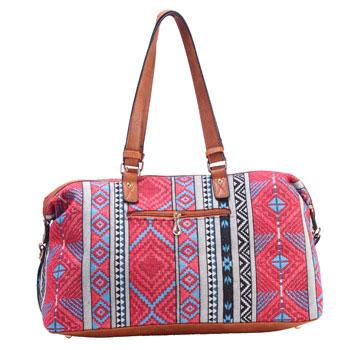 Canvas National Style Geometric Patterns Printing Splicing PU Belt and Tassel Shoulder Bag Large Capacity Travel Bag For Big Sale!- Fowish.com