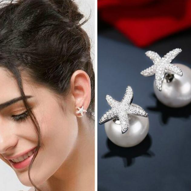 Lovely Starfish Amphibious Pearl Silver Crystal Diamond-bordered Women's Earring Studs For Big Sale!- Fowish.com