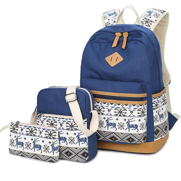Fresh Totem Deer Embroidery Splicing Large Canvas School Backpack For Big Sale!- Fowish.com