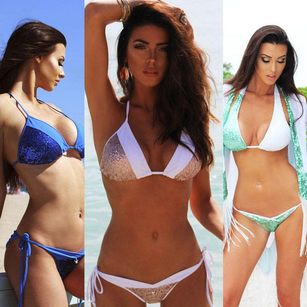 Summer Women's Contrast Color Swimsuit Sexy Sequins Splicing Backless V-neck Bikini For Big Sale!- Fowish.com