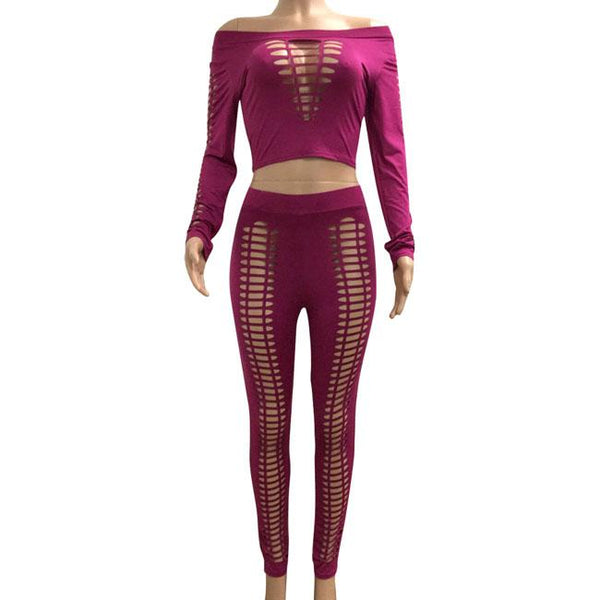 Sexy Women's Front Hollowed-out Large Size Punk Bandage Boat Neck Top Pants Suit For Big Sale!- Fowish.com