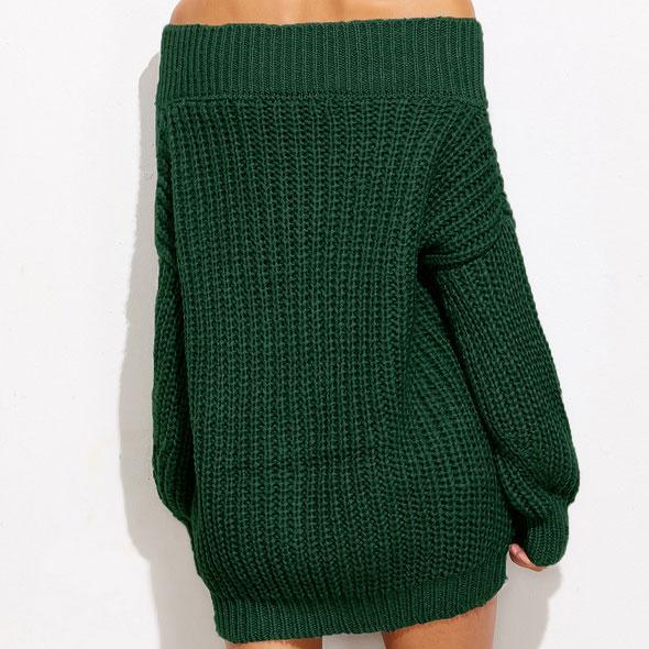 Thickening V-neck Wild Boat Neck Whole Color Sweater Dress For Big Sale!- Fowish.com