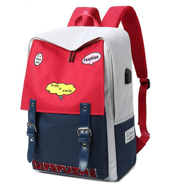 Fresh Red Blue Contrast Color High School Student Bag Large Capacity College Backpack For Big Sale!- Fowish.com