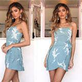 New Sexy Blue Summer Printed Sling Irregular Dress