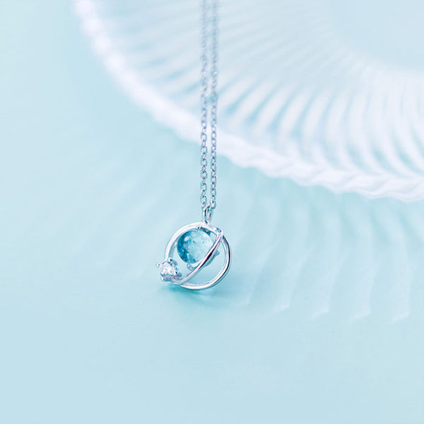 Sweet Design Diamond Trend Sweet Circle Crystal Planet Pendant Silver Necklaces