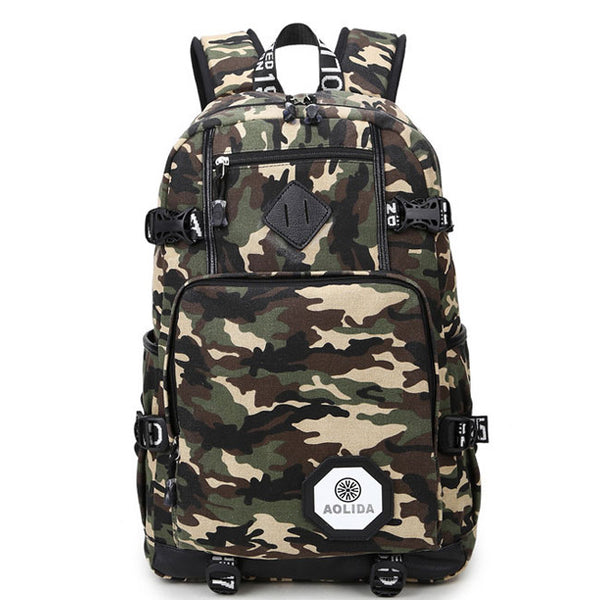 Leisure Oxford Brass Middle School Bag Large Sport Backpack  Outdoor Camouflage Travel Backpack