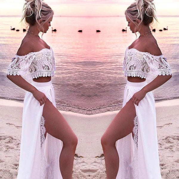 Leisure Off-the-shoulder Long Split Skirt Lace Hollow Two-piece Summer Dress Beach Dress