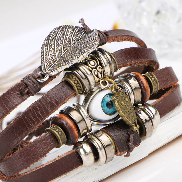 Retro Leaf Owl Blue Eyes Bracelet Multi-layer Rope Wax Bracelet