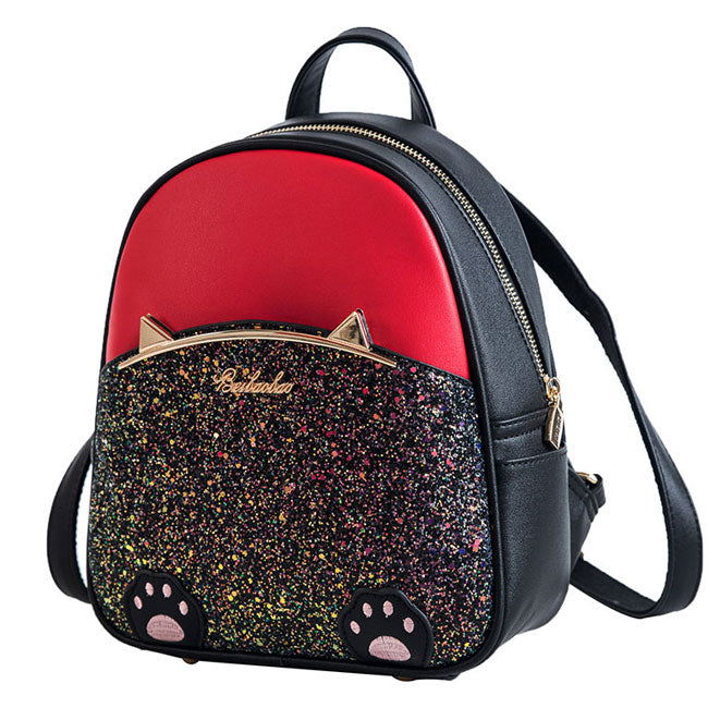 Lovely Cartoon Cat Ear Cartoon Sequin Kitten Foot PU Women School Backpack