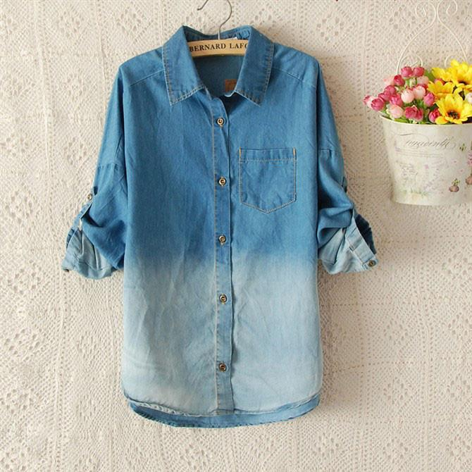 New Blue Gradient Denim Shirt - lilyby