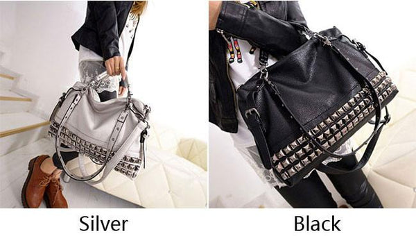 Unique Rivets Women Leather Shoulder Bag Punk Square Rivet Handbag For Big Sale!- Fowish.com