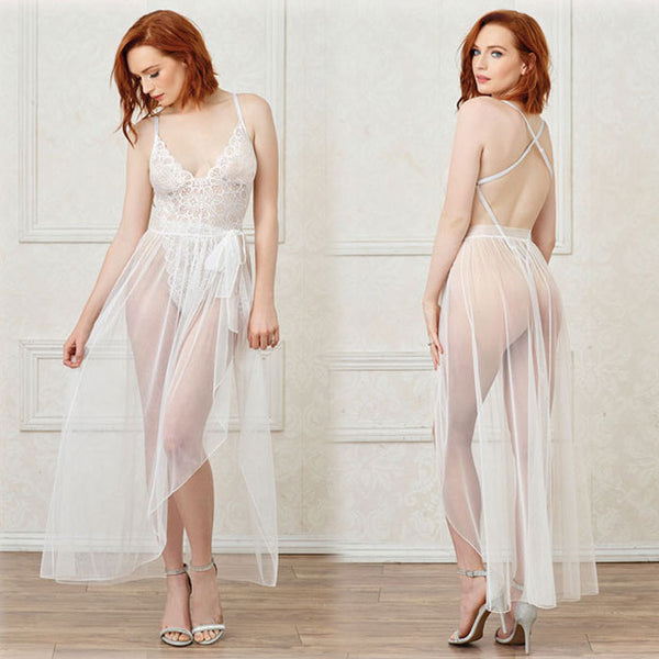 Sexy Mesh Gown Lace Long Nightdress  One-piece Intimate Lingerie