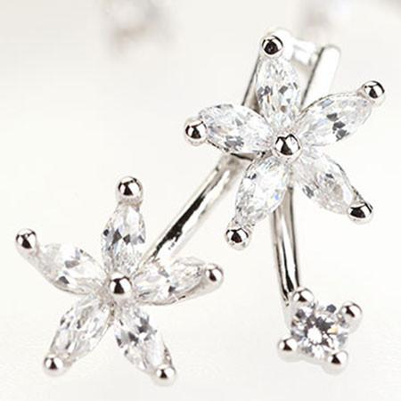 Sweet Flower Rhinestone Silver Earrings Studs For Big Sale!- Fowish.com
