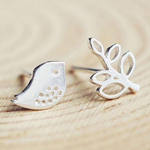 Cute Leaf Bird Sweet Animal Women Silver Earrings Studs For Big Sale!- Fowish.com
