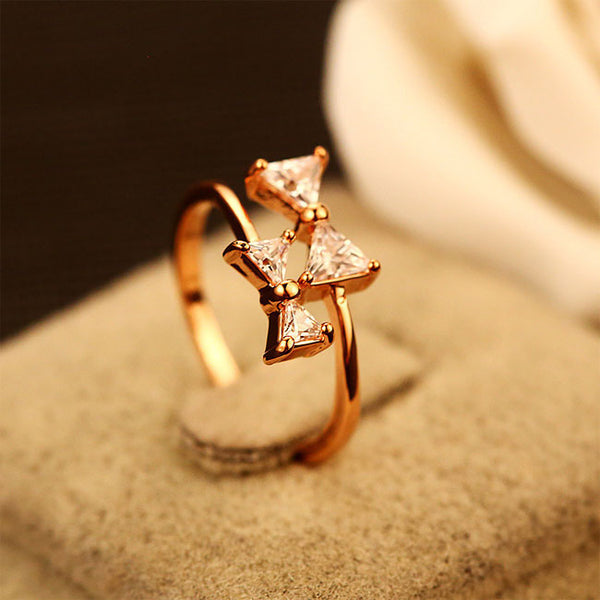 Sweet Lady Ring Bow-Knot Rhinestone Double Bow Open Ring