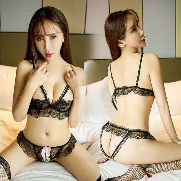Sexy Bow Hollow Lace Sling Women Lace Open Bra Set Underwear Lingerie