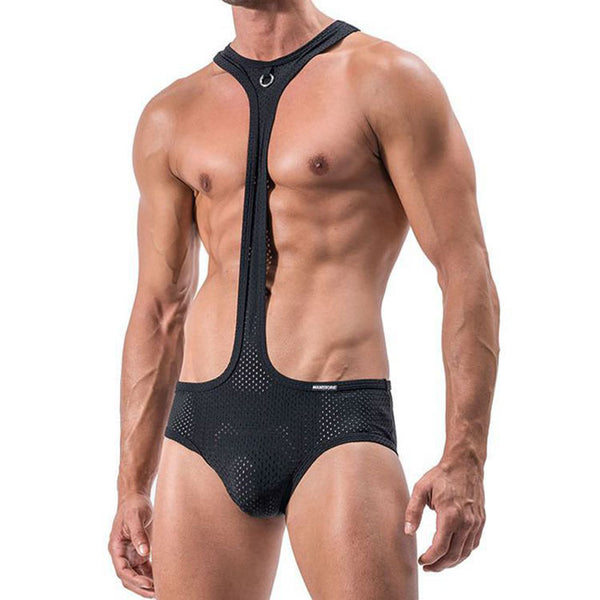 Sexy Mesh Breathable Hollow Panties Bodysuit Men's Conjoined Lingerie