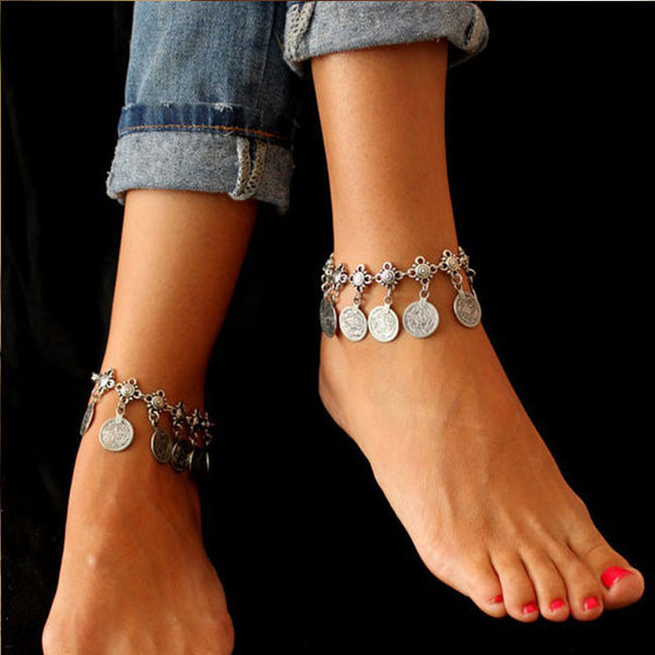 Retro Metal Tassel Coin Foot Accessory Women Anklet