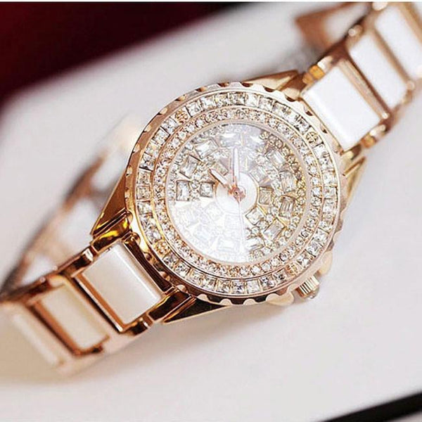 Elegant Luxury Diamond Gold Watch Noble White Ceramic Strap Rhinestone Watch For Big Sale!- Fowish.com