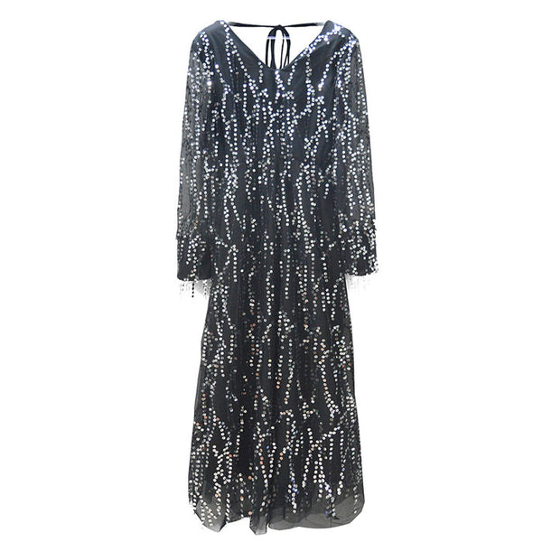 New Sexy Black V-neck Long Sleeve Tassel Sequin Party Dress