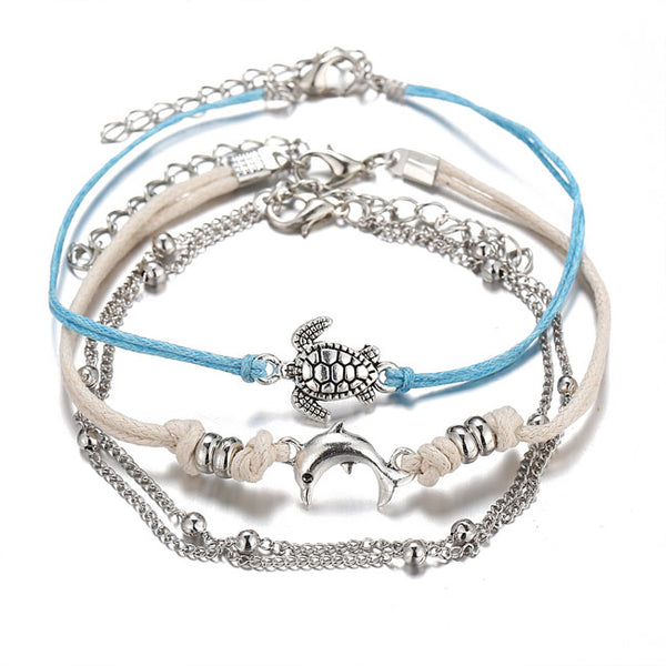 Cute Tortoise Dolphin  Alloy 3 Piece Set Women Summer Anklet