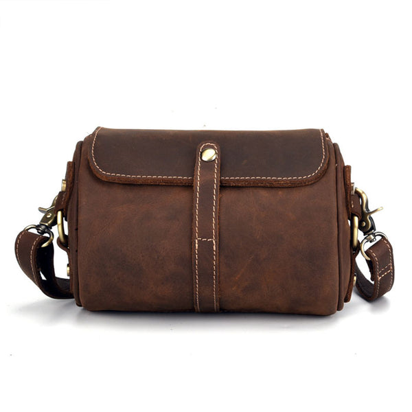 Retro Single Buckle Top Layer Brown Small Cylinder Bag Cowhide Simple Shoulder Bag