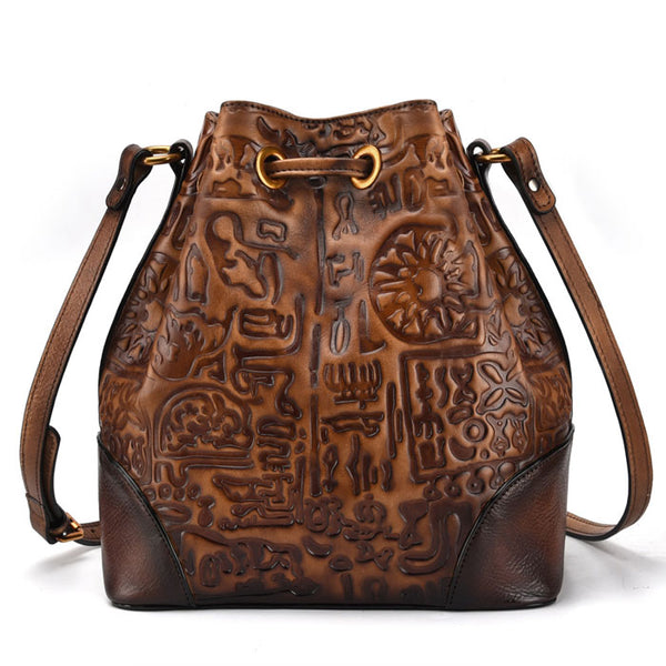 Retro Ancient Script Oracle Tassel Cowhide Vintage Shoulder Bag Embossing Messenger Bag