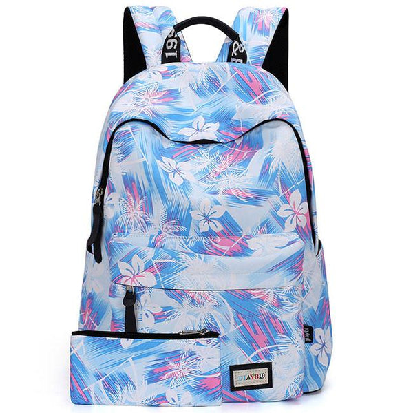 New Flower Gril's Canvas Rucksack Floral Abstract School Travel Bag Backpack For Big Sale!- Fowish.com