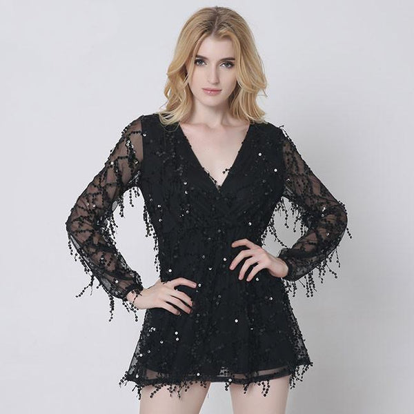 Tassels Party Dress Sequins Long Sleeve Deep V-neck Bling Shiny Skirt For Big Sale!- Fowish.com
