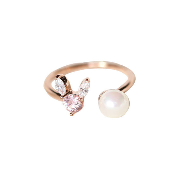 Lovely Crystal Rabbit Pearl Silver Female Open Ring