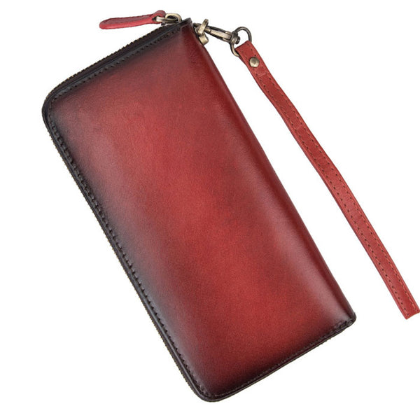 Retro  Embossed Flower Long Wallet Cowhide Red Yellow Phone Purse Rose Clutch Bag