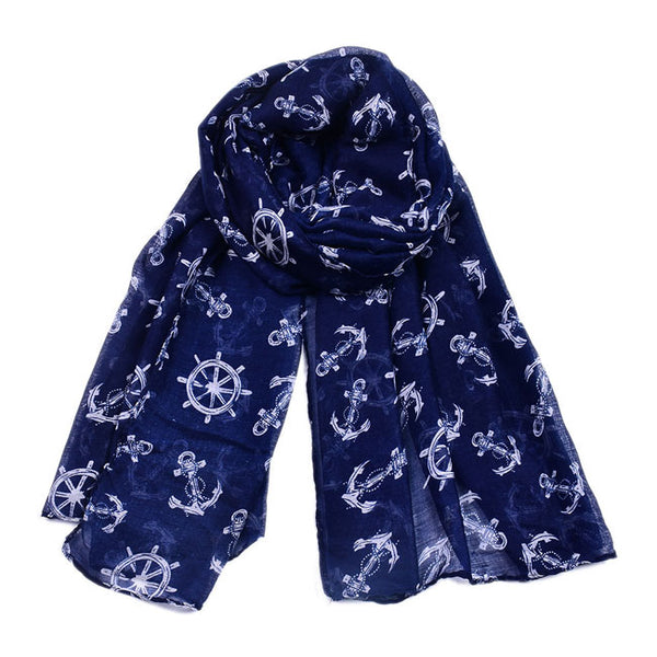 Fashion Thin Navy Anchor Print Scarf Shawl Beach Women Scarves