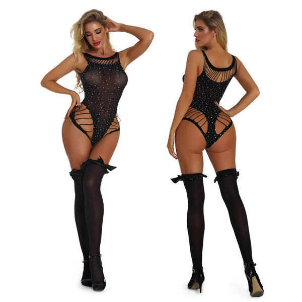Sexy Black Bow Stocking Seductive Shining Diamond Intimate Conjoined Women's Lingerie