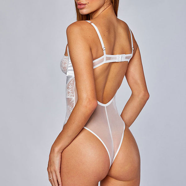 Sexy Transparent Bandage Strap Cross Backless Lace Conjoined Women's Lingerie