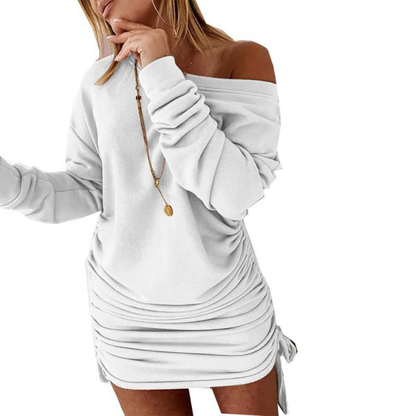 Fashion Loose Drawstring Ruffled Strapless Long Sleeve Dress