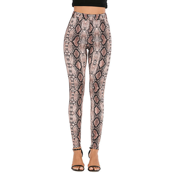 Unique Newspaper Camouflage Snakeskin Pattern Yoga Pants Women's Leggings