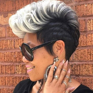Punk Gradient Color Short Curly Hair Cheap Hair Wig For women