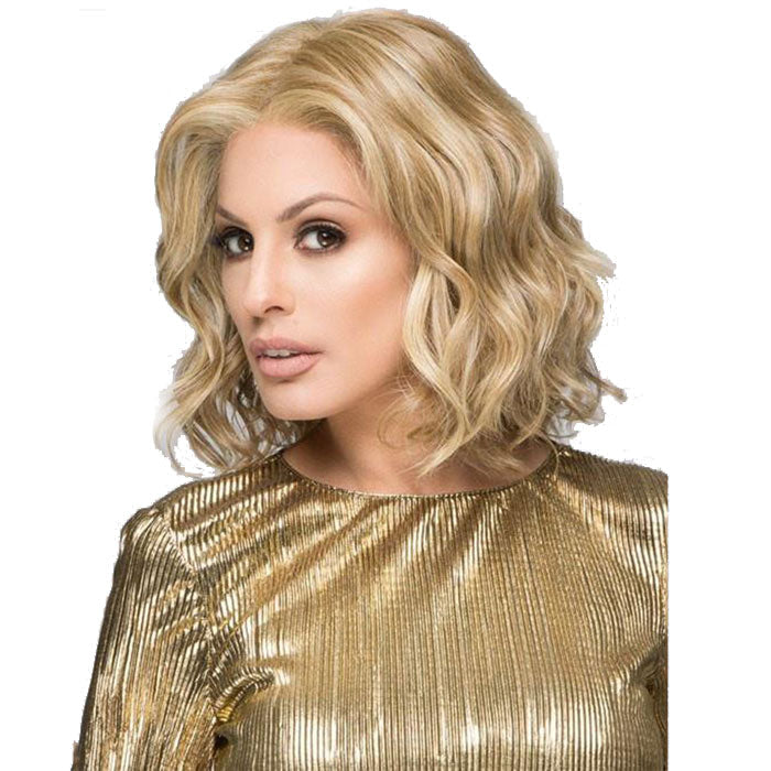 New Realistic White Lady Light Golden Middle Separate Middle Curly Lace Hair Wigs