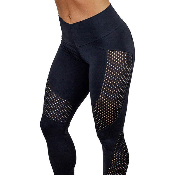 Sexy Contrast Color Hips Slim High Waist Yoga Mesh Stitching Sports Leggings