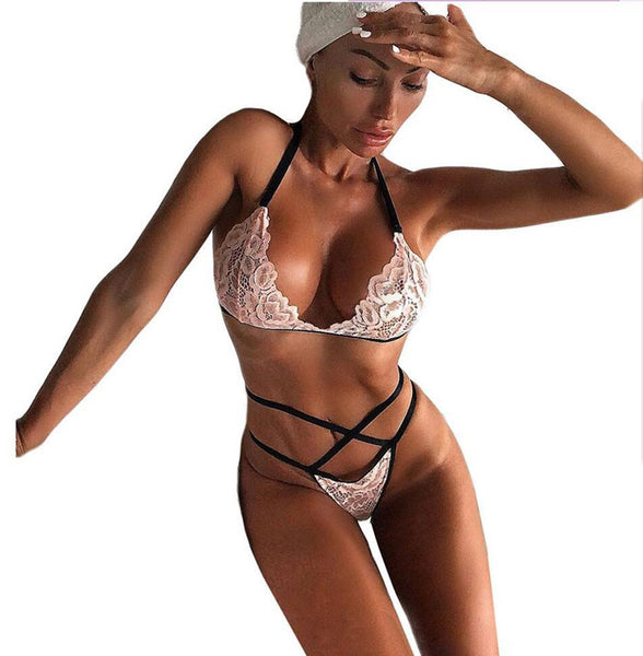 Sexy Lace Bra Set Hollow Lace Pink Three-point Bandage Women's Lingerie