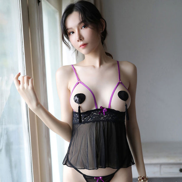 Sexy Transparent Mesh Nightdress  Nude Women's Lingerie
