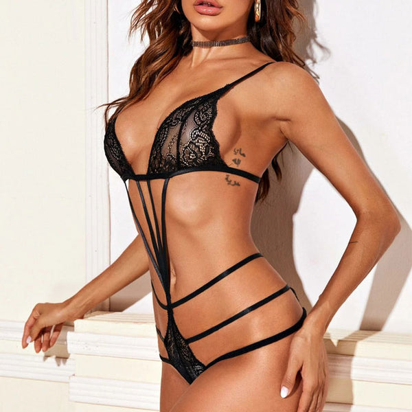 Sexy Black Seduction Bundled Seduction Porn Lace Underwear Conjoined Spicy Lingerie