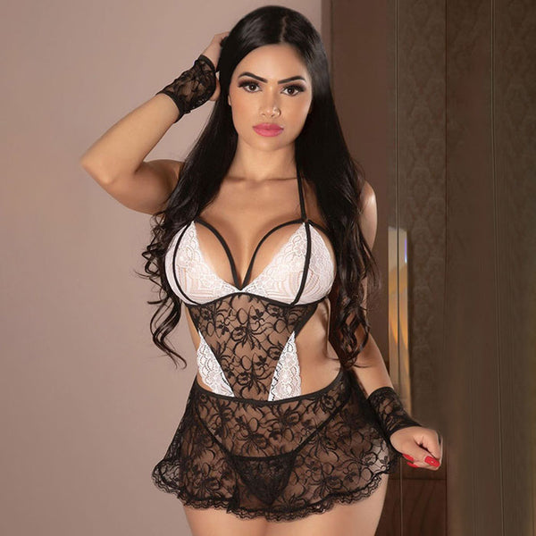 Sexy Hot Hollow Nightdress Lace Hot Stitching Mesh Doll Temptation Dress Teen lingerie