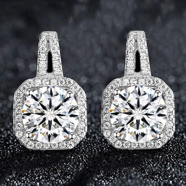 Luxury Diamond-bordered Octagon Shining Silver Women's Earring Studs For Big Sale!- Fowish.com